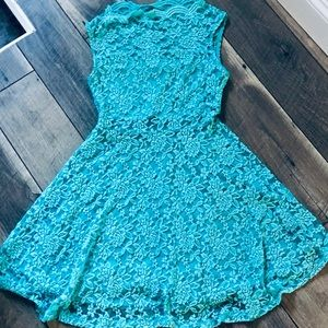 Love chesey Blue fit & flare Laced Dress sz med